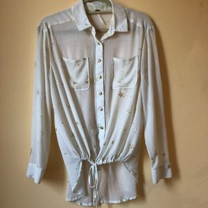 Free People Sheer Creme Button up w/ Gold Stars